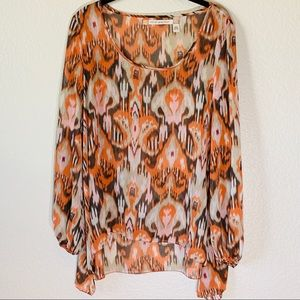 Anthropologie Boho Blouse Top Aztec Oversized Top